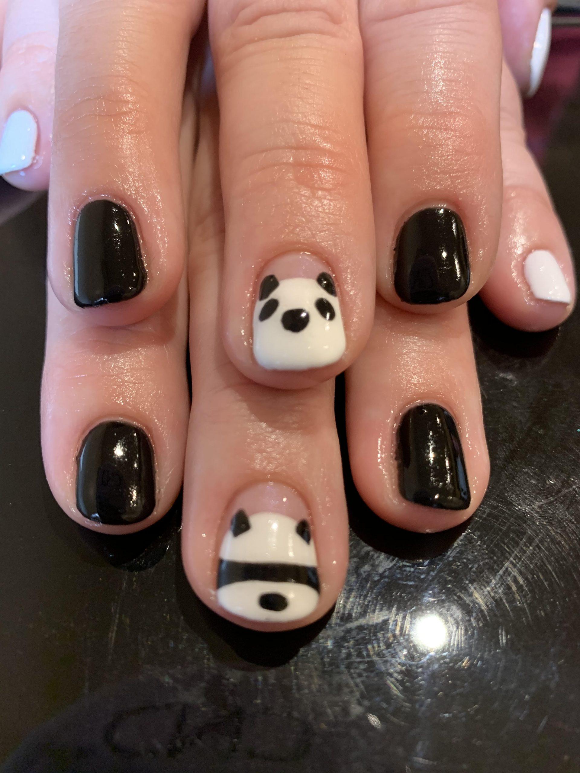 Panda nail art, CND Shellac, nail art, nail pro, nail artist, nail technician, gel nails, shellac nails, acrylic nails, ware, mobile