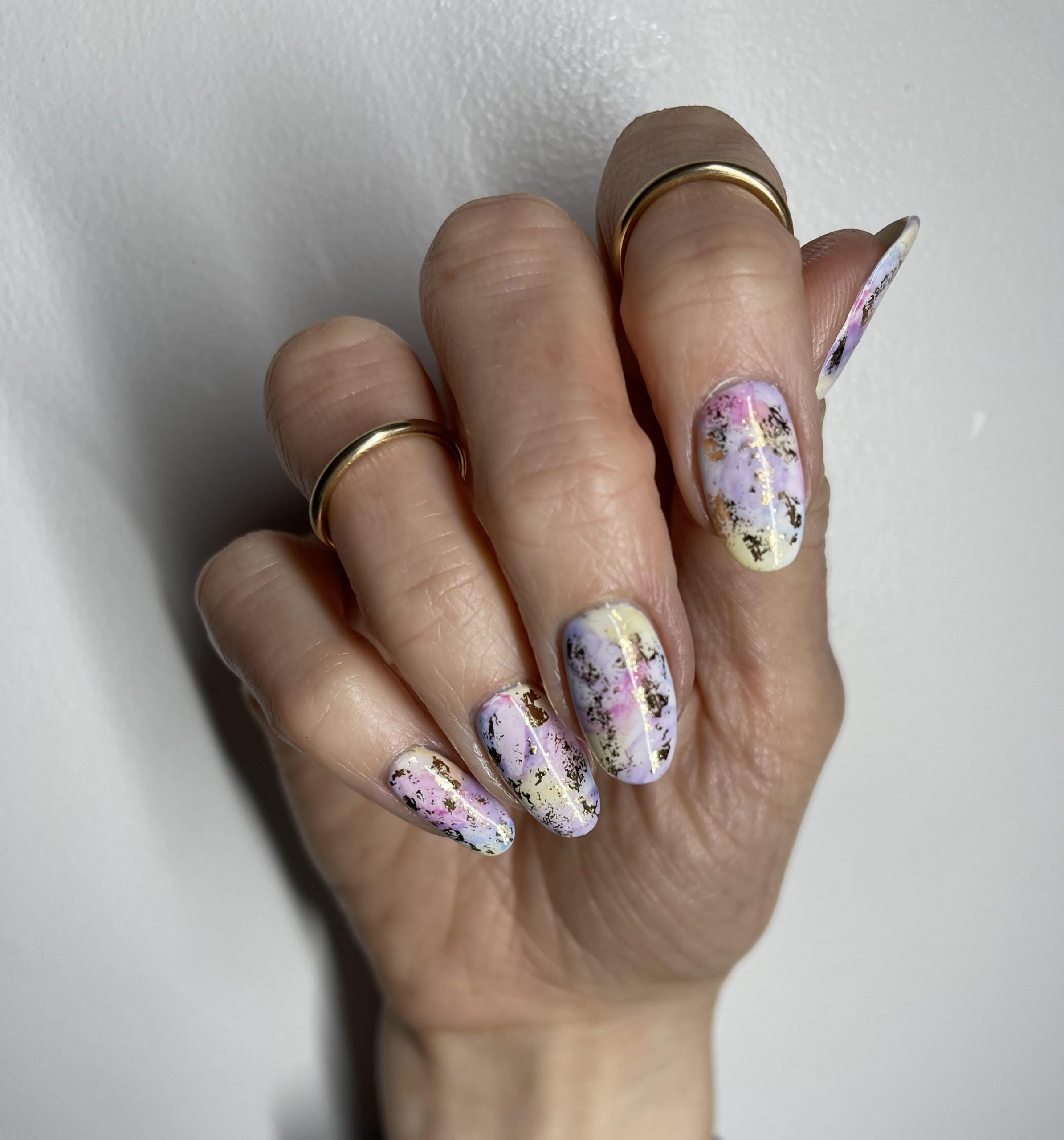 easter nails, watercolour nails, gold foil, lecente,CND Shellac, nail art, nail pro, nail artist, nail technician, gel nails, shellac nails, acrylic nails, ware, mobile