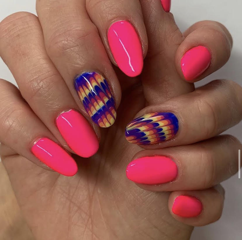 neon nails, tie dye, CND Shellac, nail art, nail pro, nail artist, nail technician, gel nails, shellac nails, acrylic nails, ware, mobile